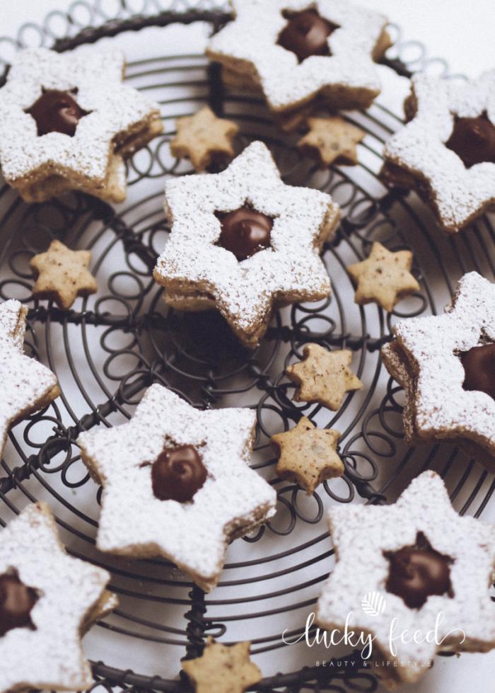Plätzchen, Plätzchen Rezept, Nuss Nougat Sterne, Nuss Nougat Plätzchen, Weihnachtsplätzchen, Nugat Plätzchen