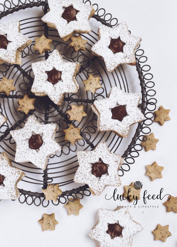 Plätzchen, Plätzchen Rezept, Nuss Nougat Sterne, Nuss Nougat Plätzchen, Weihnachtsplätzchen